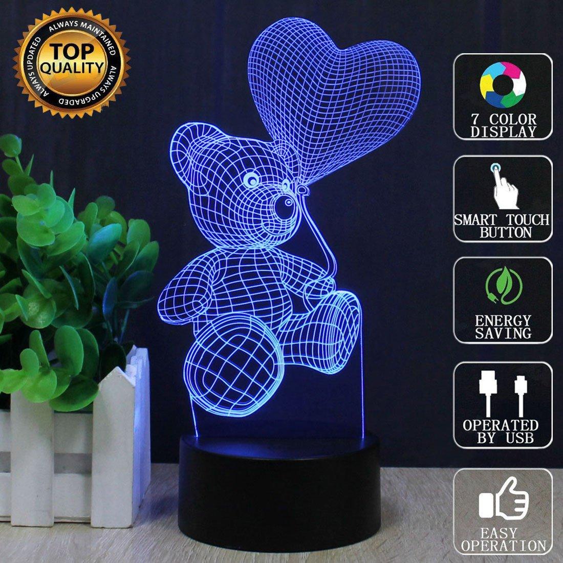 orso di cartoni animati 3D Illusion Lampada Led Night Light con 7 colori Lampeggiante e Touch Switch USB Powered Camera da letto Lampada da tavolo per i bambini Regali Decorazione della casa 1