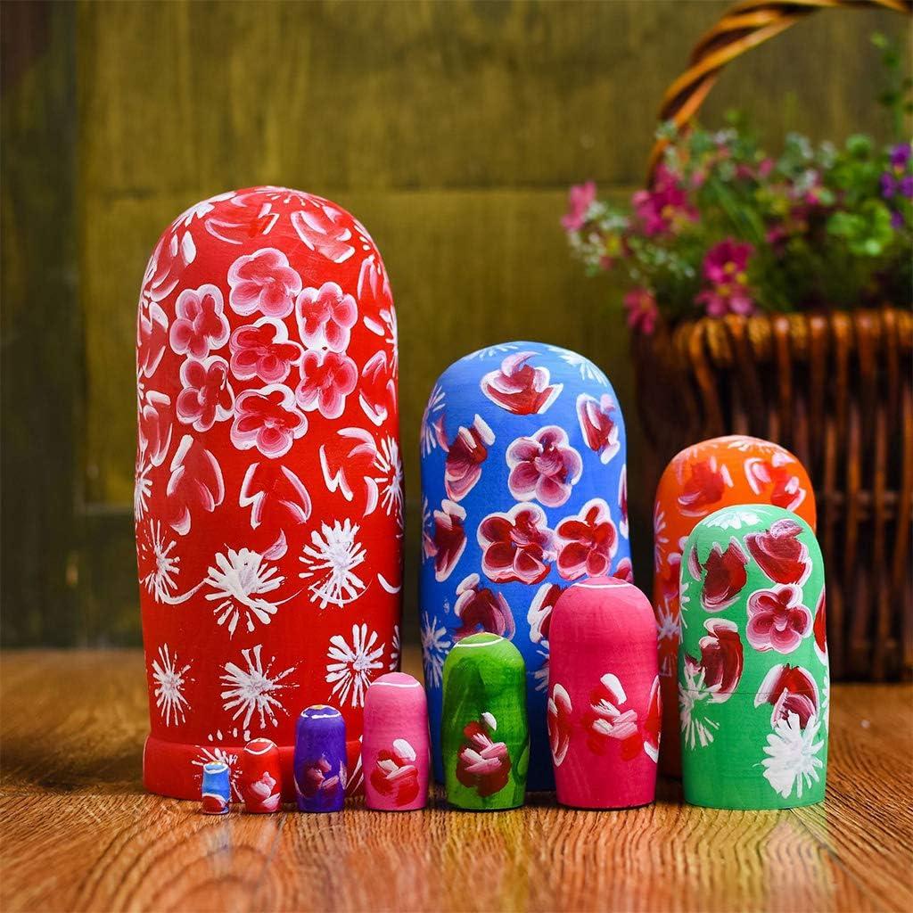 D/écoration de bureau pour enfants Jouets /éducatifs geneic Lot de 10 poup/ées russes gigognes en bois
