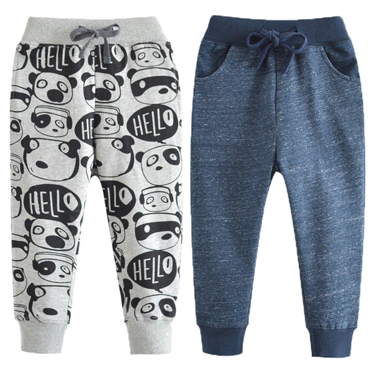 REWANGOING 2 Pack of Little Boys Cartoon Print Drawstring Elastic Sweatpants Sport Jogger 4T