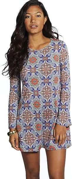 Damen Mehr Katie Kleid Mit Glockenarmeln Und Kachelprint Amazon De Bekleidung