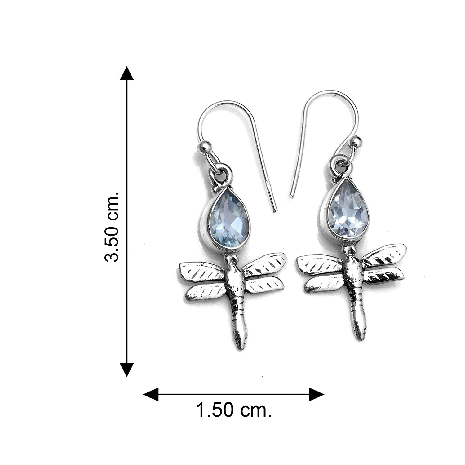 Silver Palace Sterling Silver Blue Topaz Earrings for Womens and Girls
