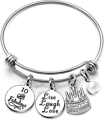 Happy Birthday Bracelet Bangle Cake Cup Mom Aunt Grandma Sister Live Laugh Love