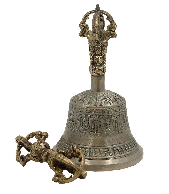 yoga creation Large Tibetan Buddhist Meditation Bell and Dorje Set