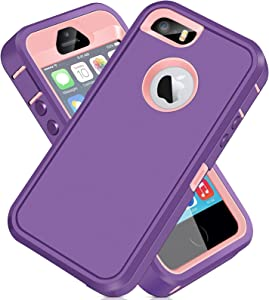 iPhone 5S Case, iPhone SE 2016 Case ACAGET iPhone 5 Case Heavy Duty Protective Armor Shock-Absorbing Dual Layer Rubber TPU + PC Cover Non-Slip Bumper Phone Cases for iPhone 5S/SE/5 (Light Purple/Pink)