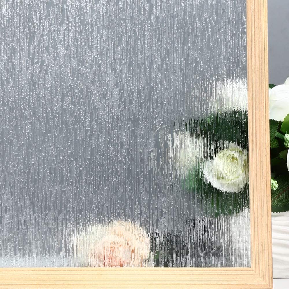 "VELIMAX Static Cling Rain Glass Window Film Removable Rain Decorative Window Film Privacy Anti-UV Heat Control (17.7""x 78.7"")"