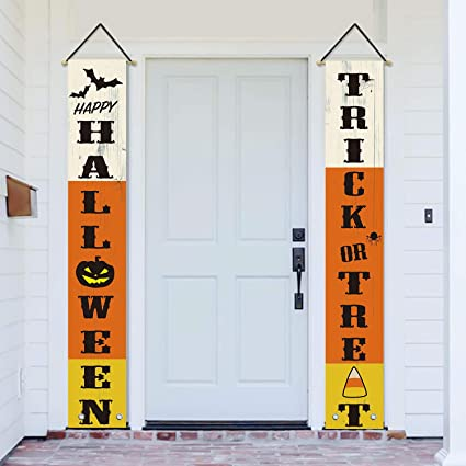 AVOIN Happy Halloween Trick or Treat Porch Sign, Holiday Hanging Banner Flag for Yard Indoor Outdoor Party 12 x 72 Inch