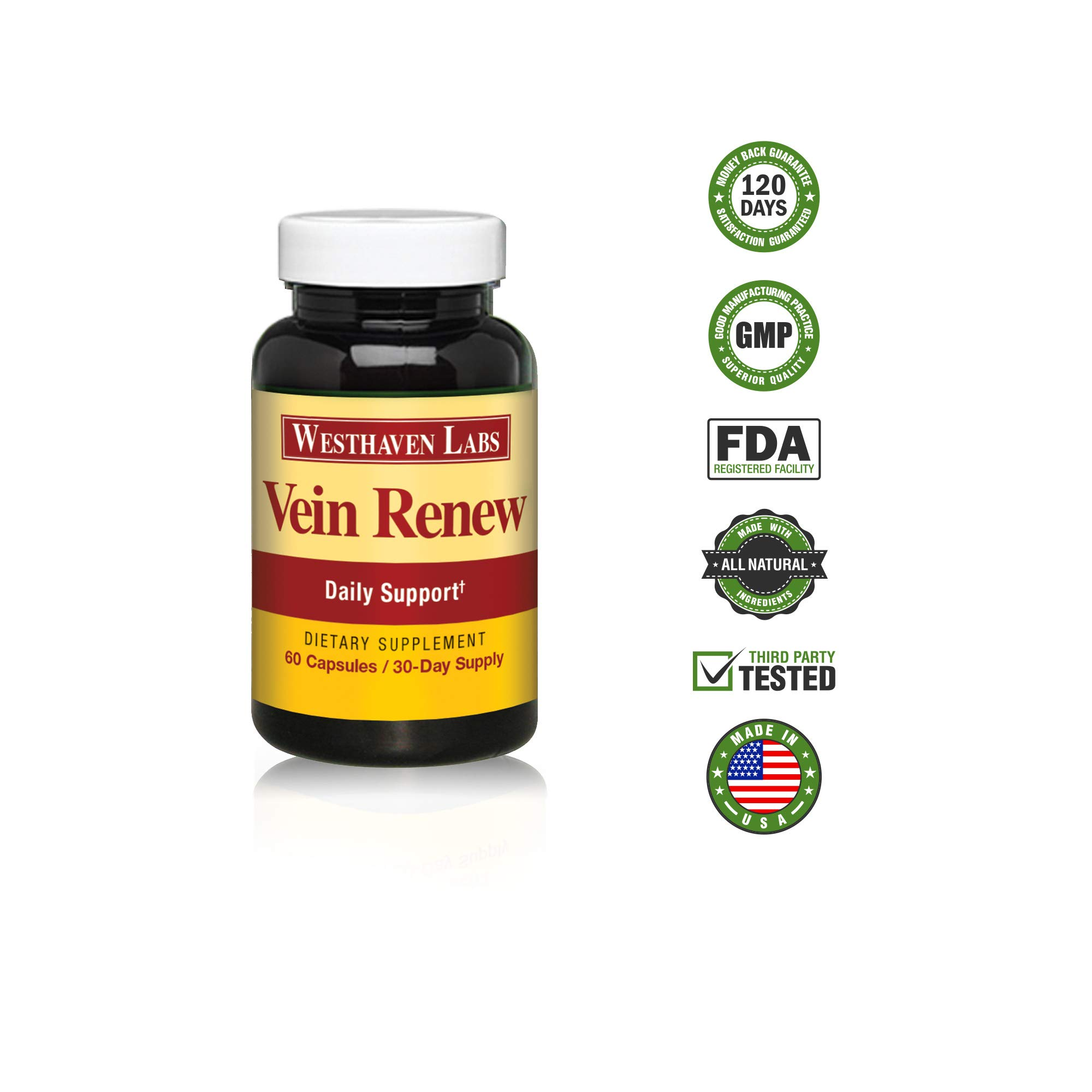 Vein Renew | Lower Leg Support Formula | All Natural Vein Supplement | Healthy Leg Circulation | Restless Leg Syndrome Relief | 6 Month Supply
