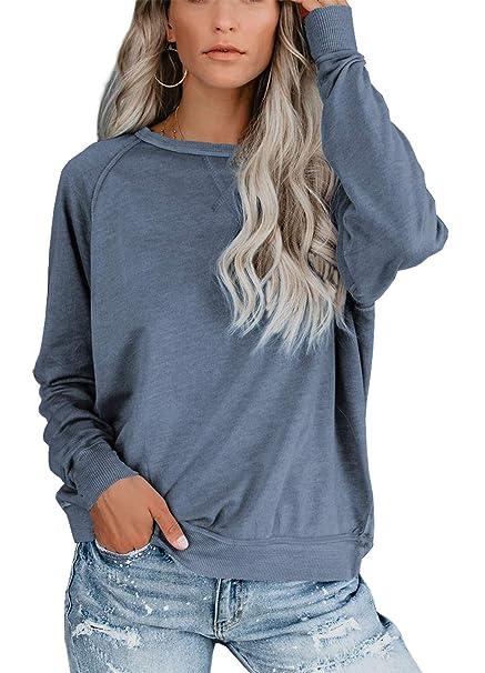 beste Qualität für berühmte Designermarke überlegene Materialien iGENJUN Women Casual Batwing Sleeve Cotton Blend Pullover Sweater Shirt Tops