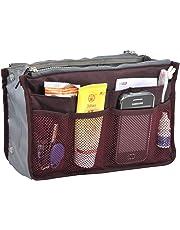 Kisstyle Ladies Purse Cosmetic Organizer Insert Travel Large Makeup Handbag Wine Red