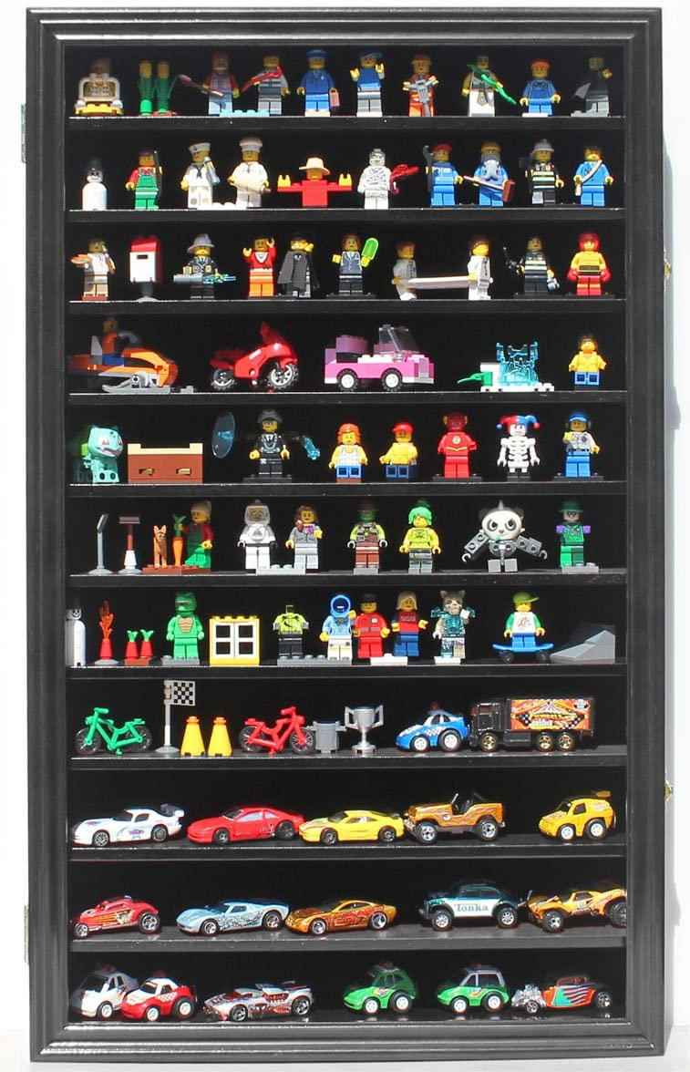 Minifigures Miniature Figures Display Case Wall Curio Cabinet Black Finish