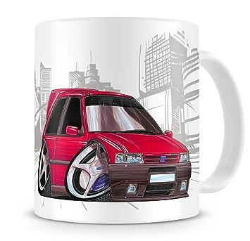 Caricatura de KOOLART Fiat Uno Turbo de serie de dibujos animados rojo - taza de café: Amazon.es: Hogar