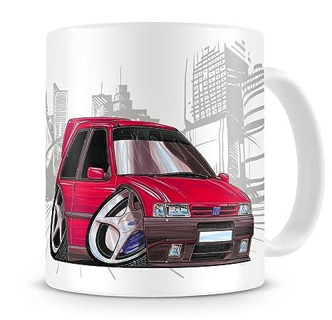 Caricatura de KOOLART Fiat Uno Turbo de serie de dibujos animados rojo - taza de café
