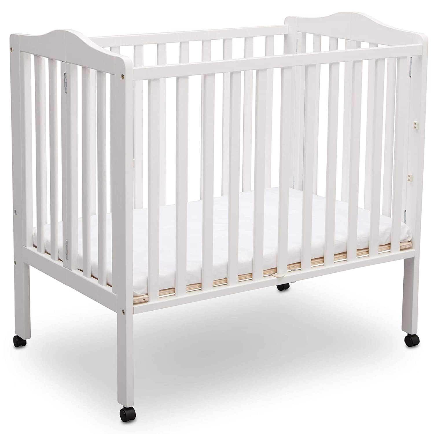 Amazon.com : Delta Children Delta Children Folding Portable Mini Baby Crib with Mattress, Dark Espresso, Dark Espresso : Baby