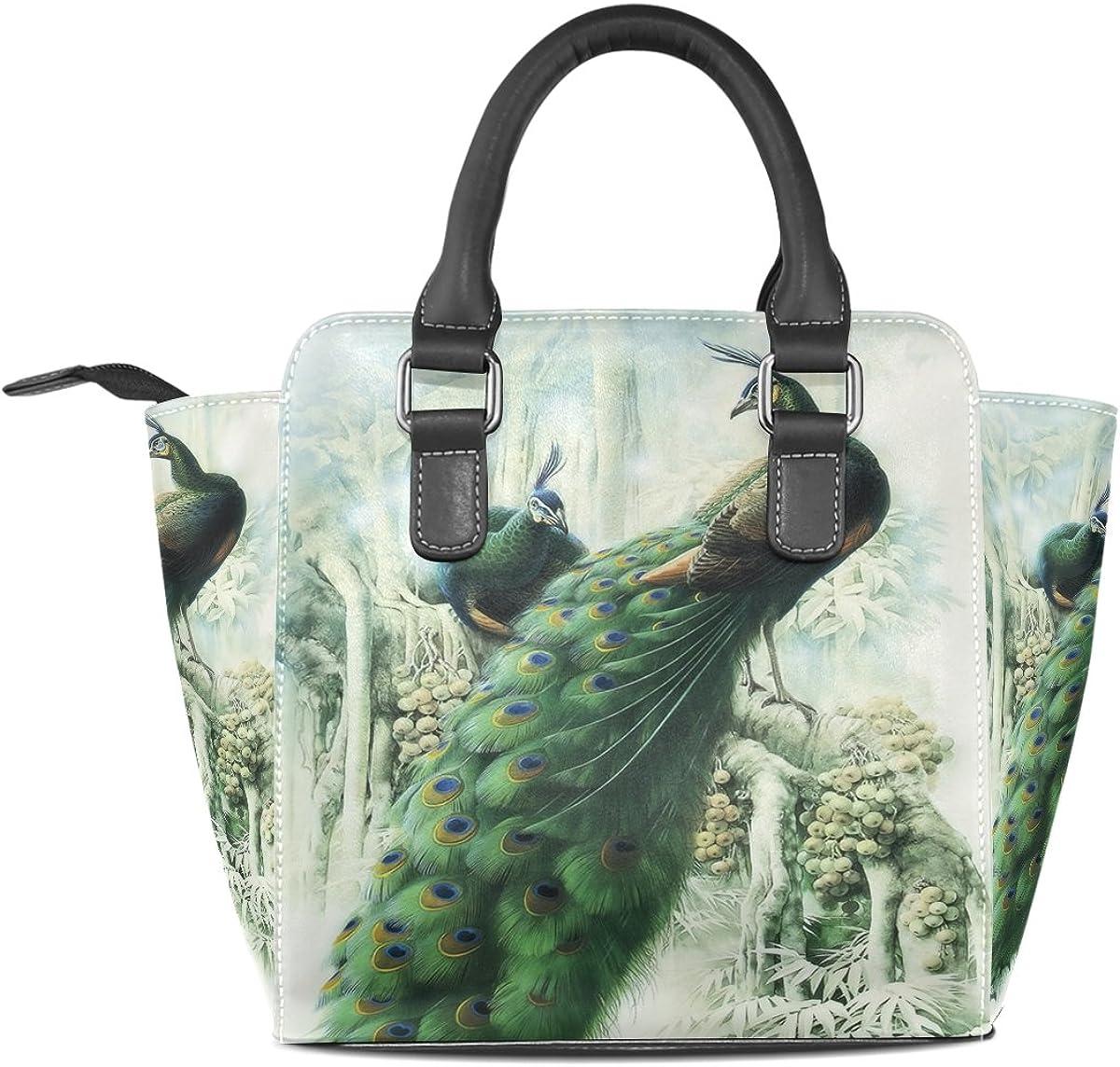 Jennifer PU Leather Top-Handle Handbags Graceful Peacocks Single-Shoulder Tote Crossbody Bag Messenger Bags For Women