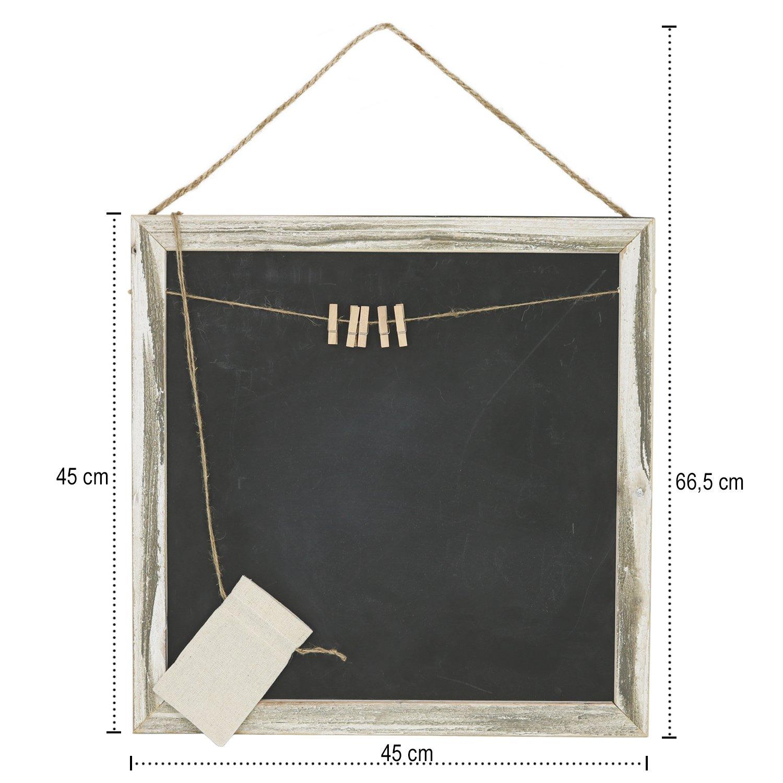 com-four/® Memotafel im Landhausstil K/üchen- und Notiztafel aus Holz mit Kordel zum Aufh/ängen 29 x 21,9 cm 01 St/ück - 29 x 21.9 cm