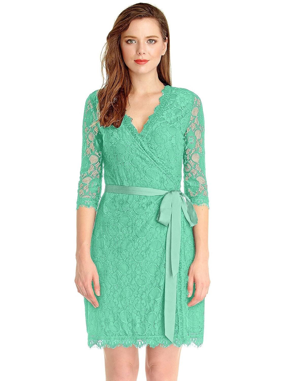 Amazon.com: Grapent Women\'s Lace 3/4 Sleeves Midi Business ...