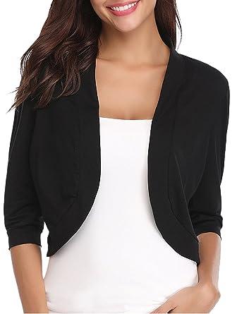 promo code b9bad e444b FIRENGOLI Bolero Donna Coprispalle Donne Elegante Manica 3/4 Cardigan per  Vestito Casuale Cropped Corto Camicetta Blazer Cima