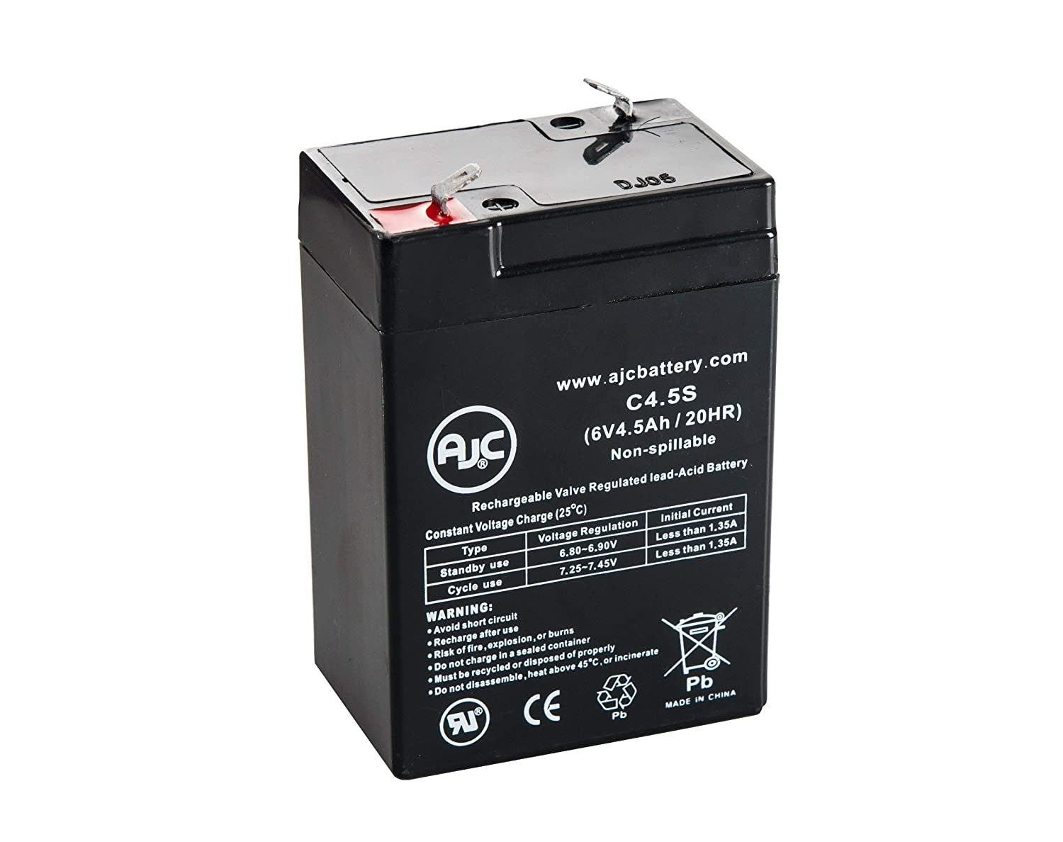 Portalac GS PE6V4.5F1 6V 4.5Ah Emergency Light Battery - This is an AJC Brand Replacement AJC Battery