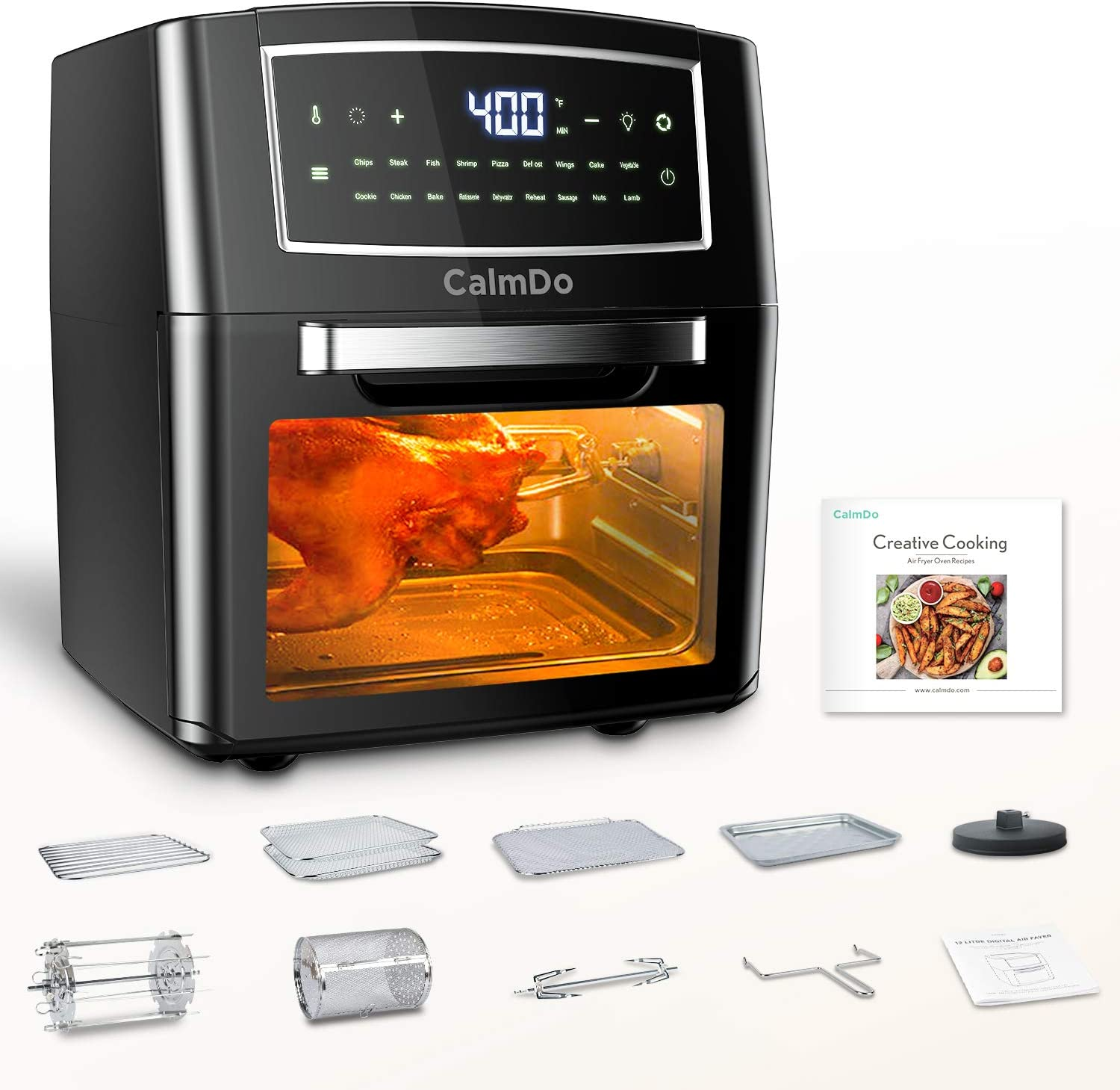 CalmDo Air Fryer Toaster Oven 12.7 Quarts, Rotisserie, Dehydrator, Convection Oven, 18 functions to Fry, Roast, Dehydrate, Bake, Reheat, 10 Accessories & Recipe Included, Black