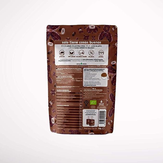 Proteína Whey BIO Chocolate Natural Athlete Aislado de Suero de Leche de Vacas de Pastoreo Sin Azúcar Añadido, 100% Natural, Sin Gluten – 750 g