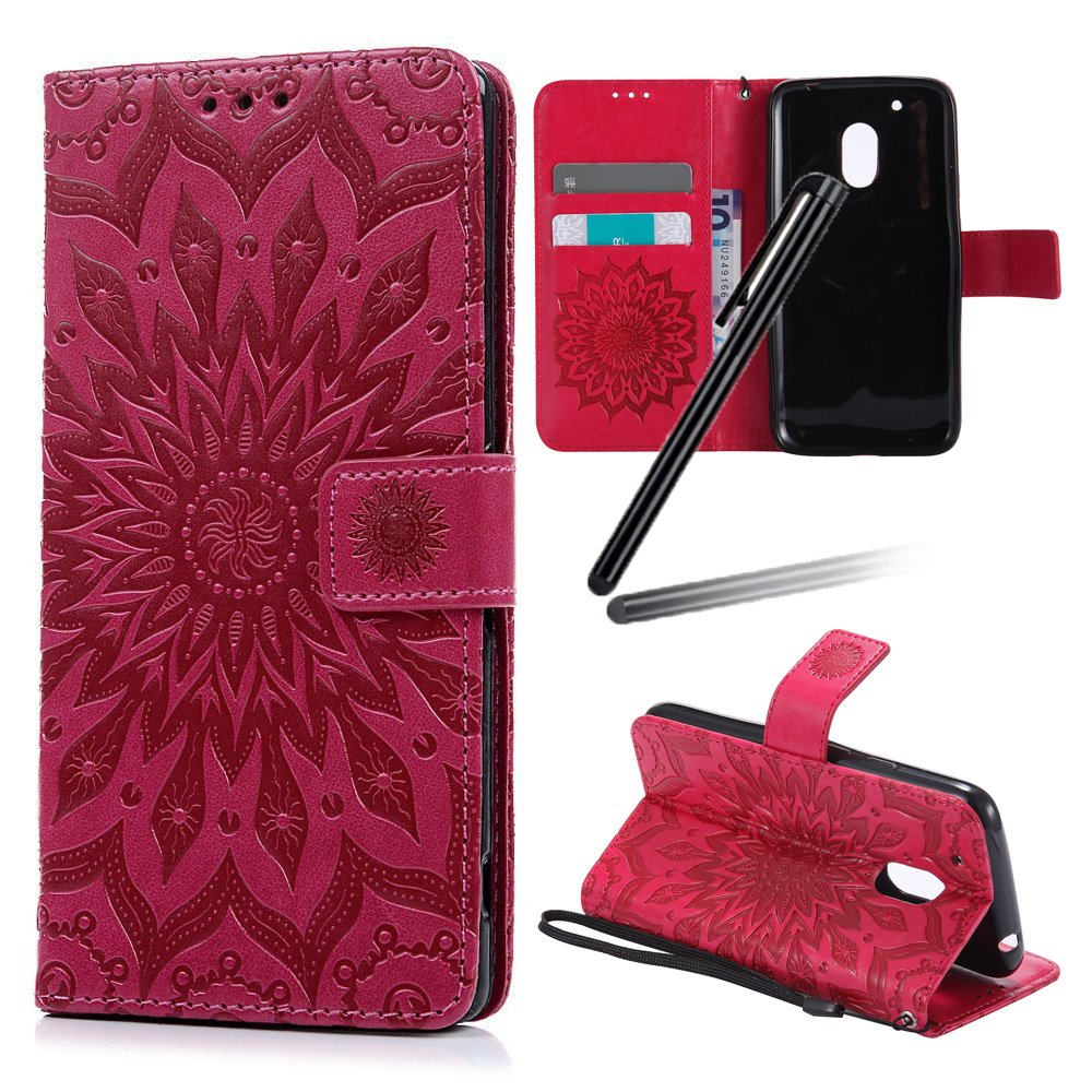 Motorola Moto G4 Play Case, Moto G Play (4th Gen.) Case, SKYMARS Sunflower Beautiful Art Painted Pattern Embossing PU Leather Fold Wallet Pouch Case Wallet Flip Stand Credit Card ID Holders Protective Case Cover for Motorola Moto G4 Play / Moto G Play (4th