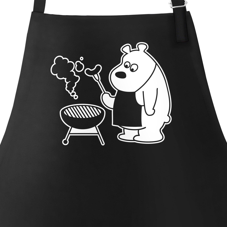 MoonWorks Grill-Sch/ürze f/ür M/änner mit grillendem B/är Bear Grills schwarz Unisize