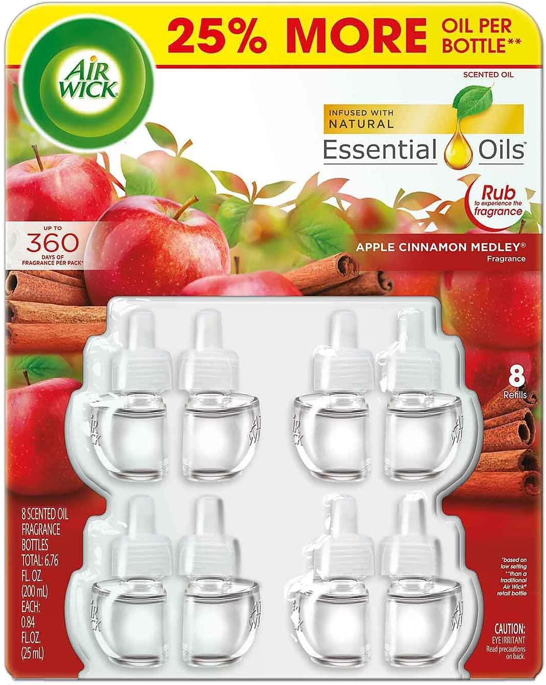 Air Wick Apple Cinnamon Medley Essential Scented Oils, 8 Bottles