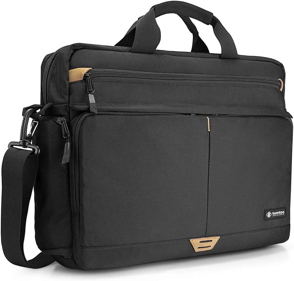 tomtoc 15.6 Inch Laptop Shoulder Bag for 16-inch New MacBook Pro 2019, Anti-Shock Laptop Messenger Bag Briefcase Fits 13 14 15 15.6 Inch HP Dell Acer Lenovo Asus Samsung Notebook Tablet