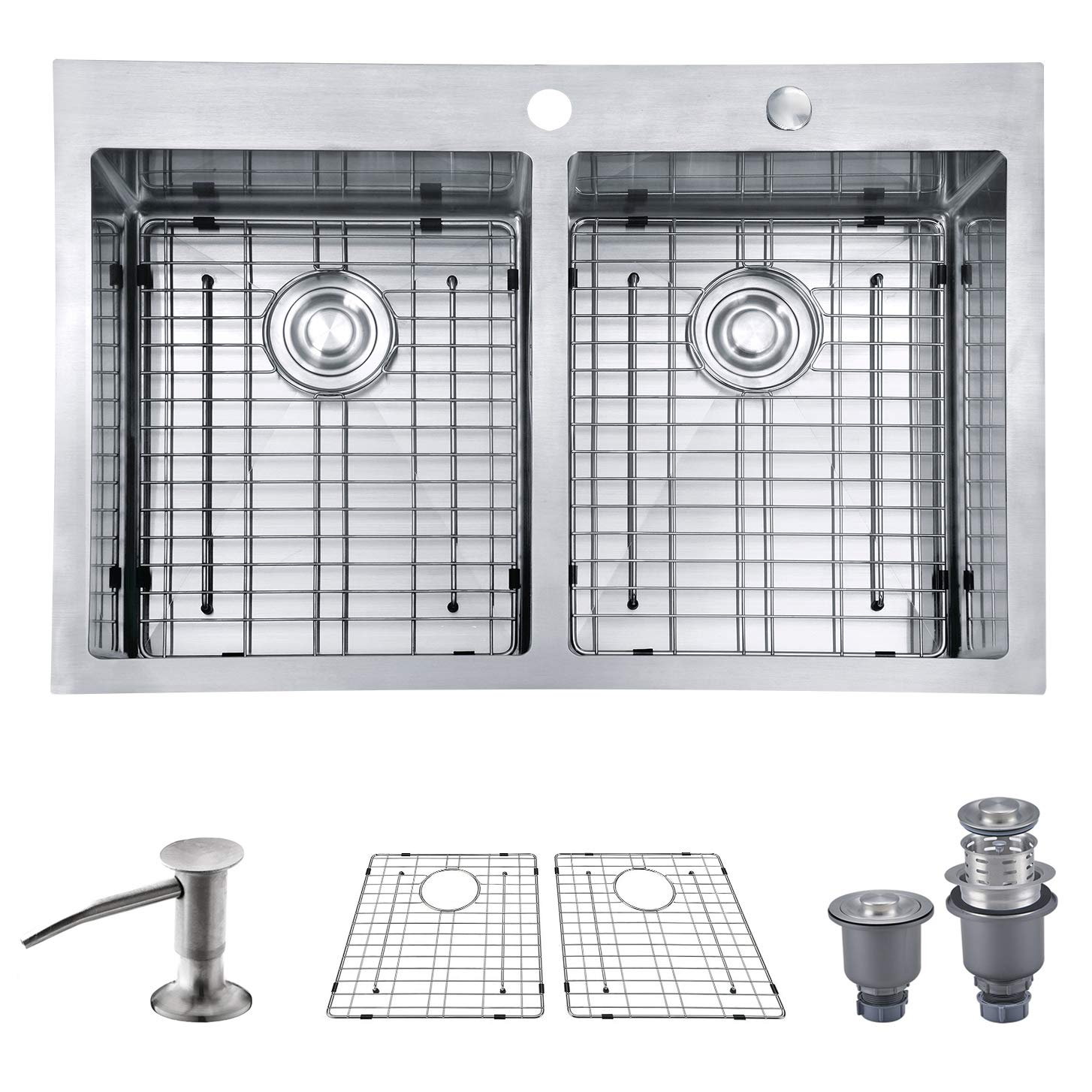 MOWA HTD33DE Upgraded Perfect Drainage Handmade 33'' 16 Gauge Stainless Steel Topmount 50/50 Double Bowl Kitchen Sink, Modern Tight-Radius Style & Commercial Deep Basin, w/Drain Set + Soap Dispenser