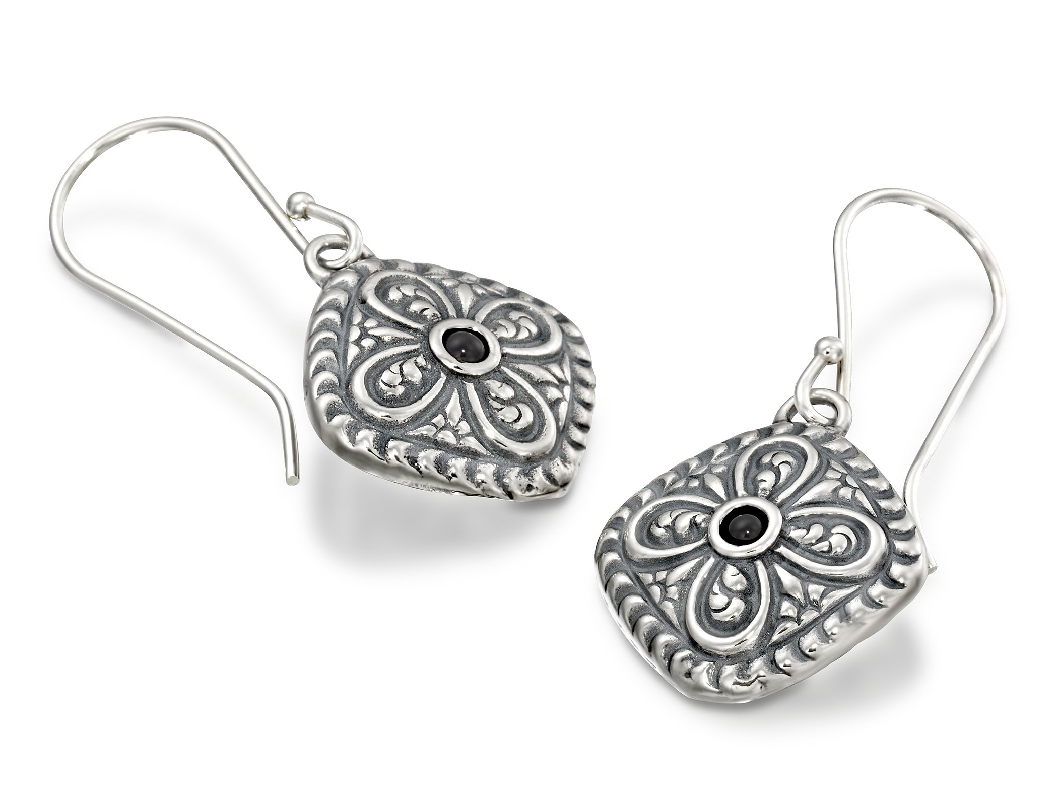 Antique Style 925 Sterling Silver Black Onyx Gemstone Earrings Diamond Shaped With Ornate Floral Design