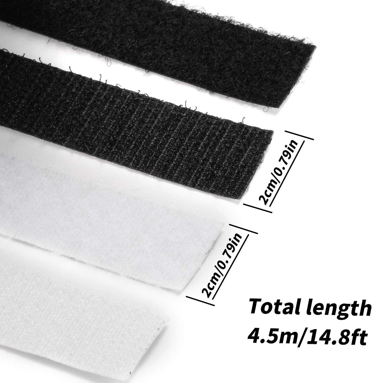 2 rollos de cinta de gancho y bucle cierre autoadhesivo en la parte trasera 3//4 pulgadas con 5.5 yardas de longitud Yizerel blanco y negro