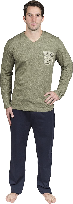 Mens Pajamas Set Soft Cotton PJS Lightweigh Comfortable Mens Lounge Pants and Shirt Set Yugo Sport & Loungwear