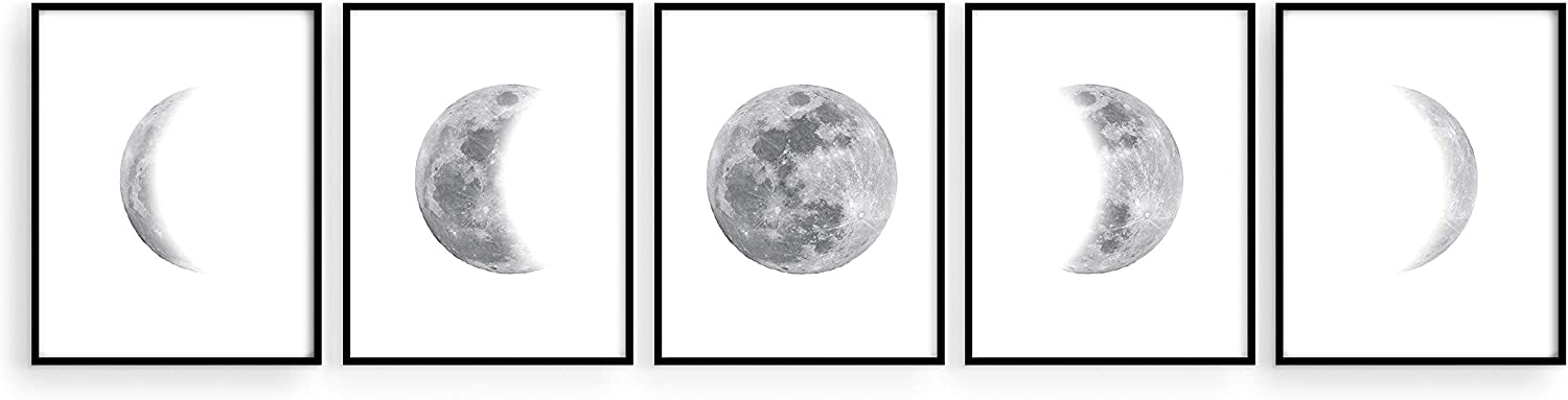 """Haus and Hues Phases of the Moon Wall Decor - Set of 5 Moon Phases Prints Moon Phases Wall Art for Bedroom 