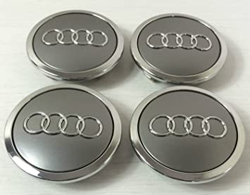 Juego de 4 Audi metal ligero Cilindro de Badges Central Tapacubos Gris 69 mm 4b0601170 a ...