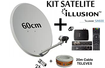 KIT PARABOLICA 6OCM TECATEL + RECEPTOR SATELITE ILLUSION SA600 + CABLE 20M TELEVES