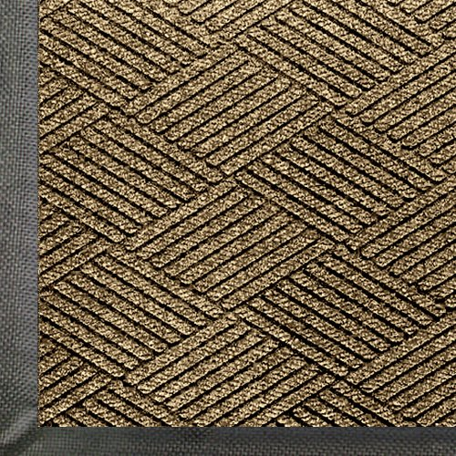 (WaterHog Eco Premier | Commercial-Grade Entrance Mat with Diamond Pattern & Rubber Border | Indoor/Outdoor, Quick-Drying, Stain Resistant Door Mat (Khaki, 3x4))