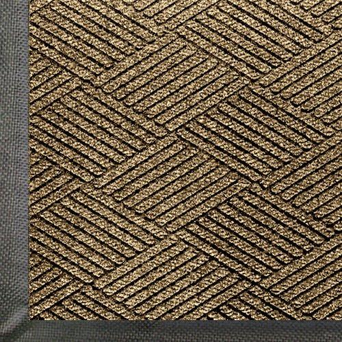 WaterHog Eco Premier | Commercial-Grade Entrance Mat with Diamond Pattern & Rubber Border | Indoor/Outdoor, Quick-Drying, Stain Resistant Door Mat (Khaki, 4x6) ()