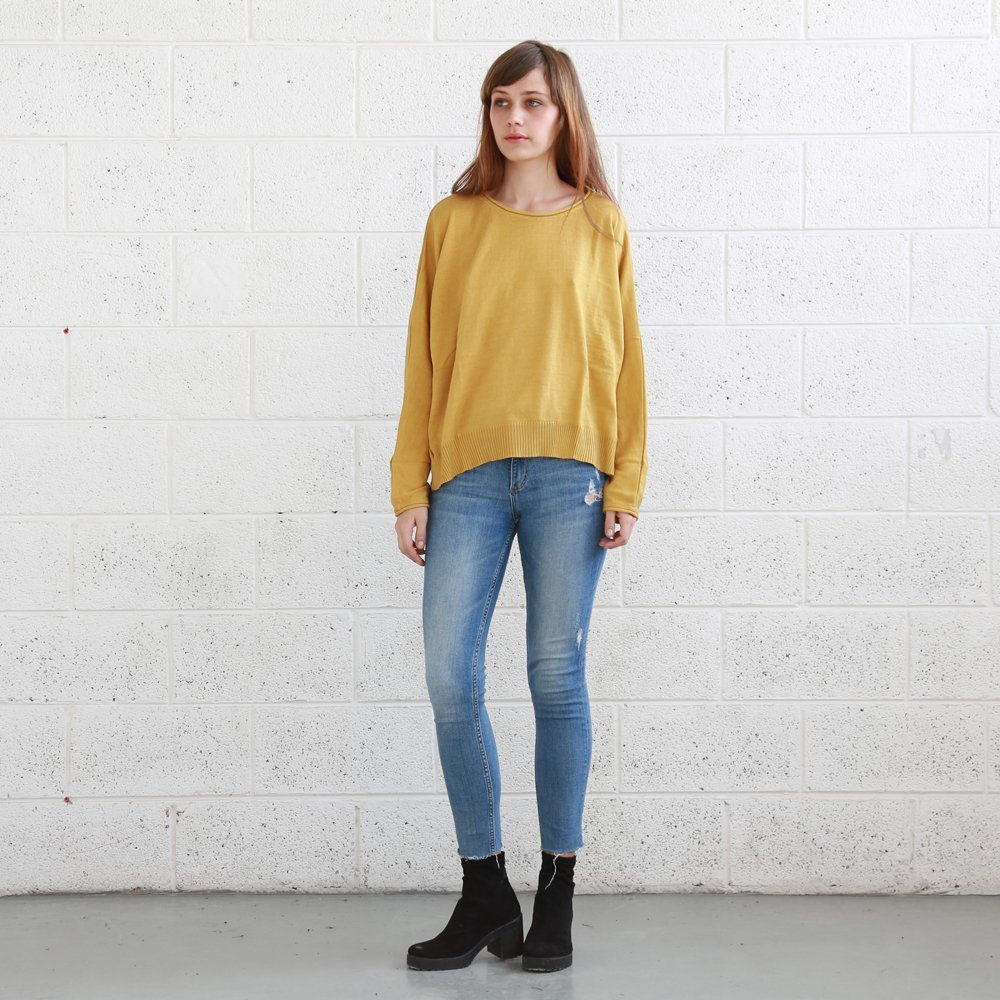 Kimono cut sweater , women's knitted sweaters,Pullover Sweater ,Mustard.