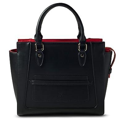 Marsi Bond Designer Womens Handbag - Top Handle Vegan Leather Tote Purse -  Black with Red quot 0b5cf4f7d1bf0