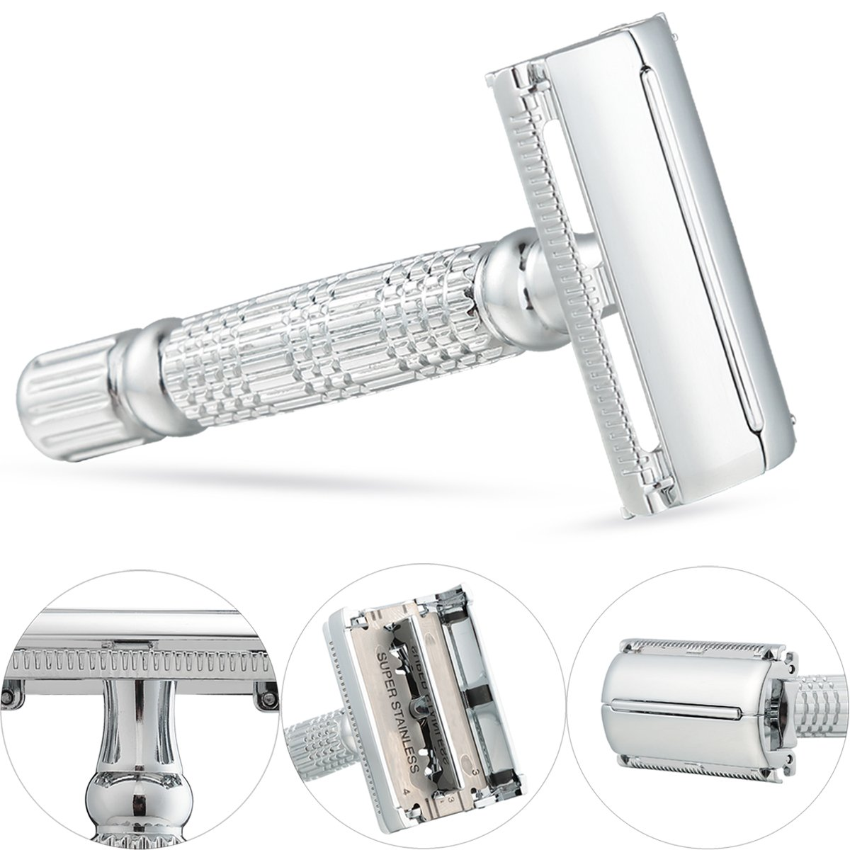 GoBetter Deluxe Double Edge Safety Razor + 5 Long Lasting Platinum-Chrome Super Sharp Stainless Steel Blades in Gift Box, Heavy Duty, This is the Best Shaving Razor of Your Life!!!