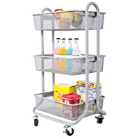 DESIGNA 3-Tier Rolling Utility Cart Storage Shelves Multifunction, Metal Mesh Baskets...