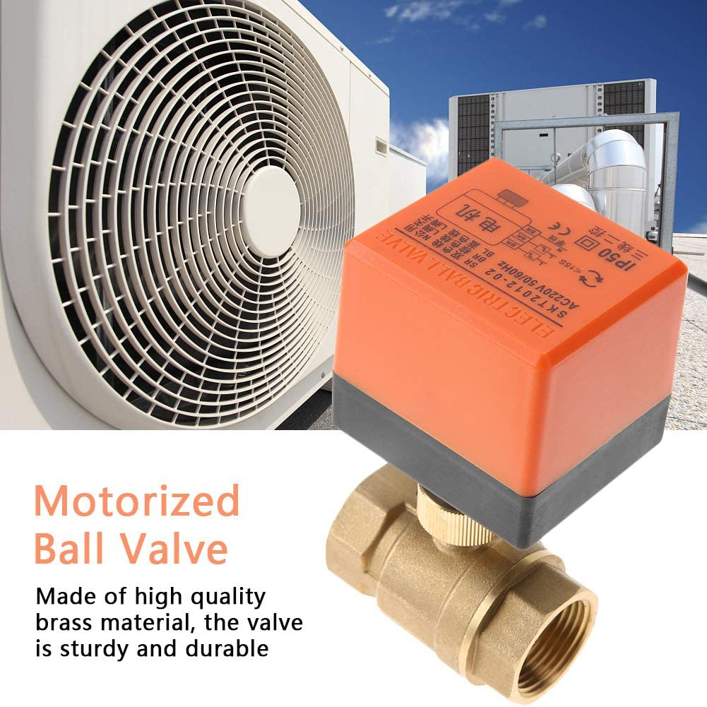 2-Way 3-Wire 2-Point Control Electrical Water Valve for Air Conditioner AC220V G1 DN25 Brass Motorized Ball Valve