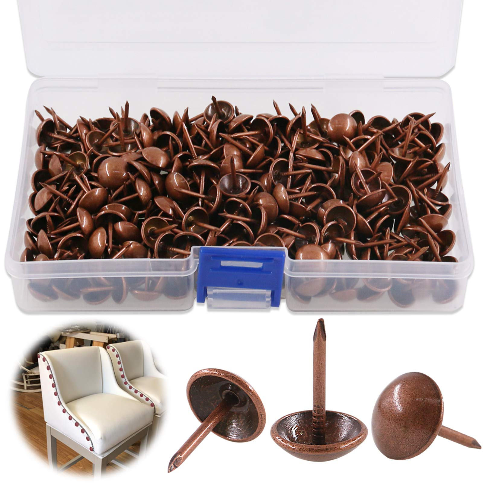 """Keadic 300Pcs 7/16"""" (11mm) Antique Upholstery Tacks Furniture Nails Pins Kit for Upholstered Furniture Cork Board or DIY Projects - Red Copper"""