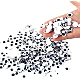 DECORA 500 Pieces 6mm -12mm Black Wiggle Googly Eyes with Self-adhesive