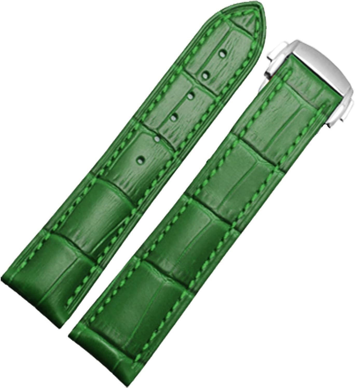 Nuevo 18mm Lady para Mujer Correa de Piel Reloj Verde Banda