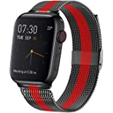 Jun-Yue Apple Watch Band 38mm/40mm Black with Red Adjustable Stainless Steel Mesh Wrist Strap for iWatch Series 5 4 3 2…