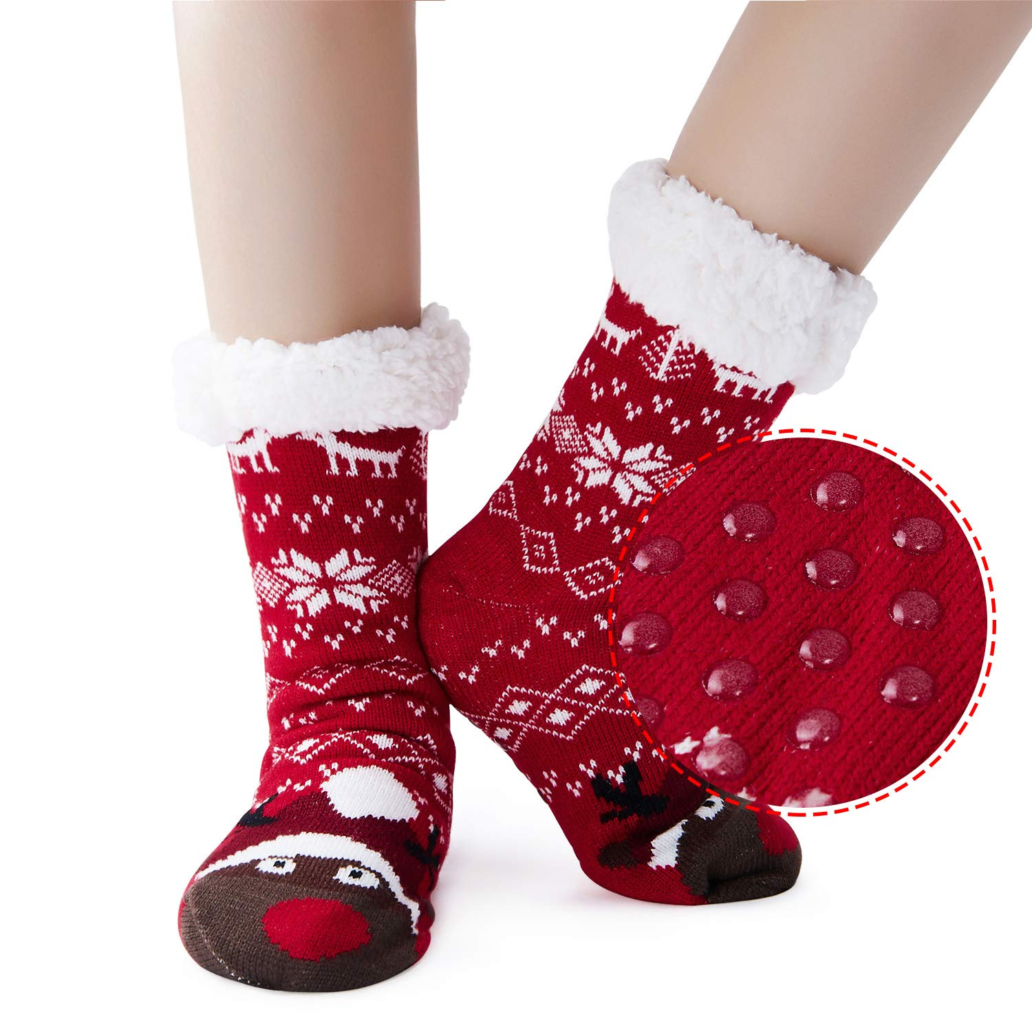 Uideazone Womens Socks for Christmas Thick Knit Fleece Lined Cozy Thermal Fuzzy Xmas Slipper Socks with Grippers
