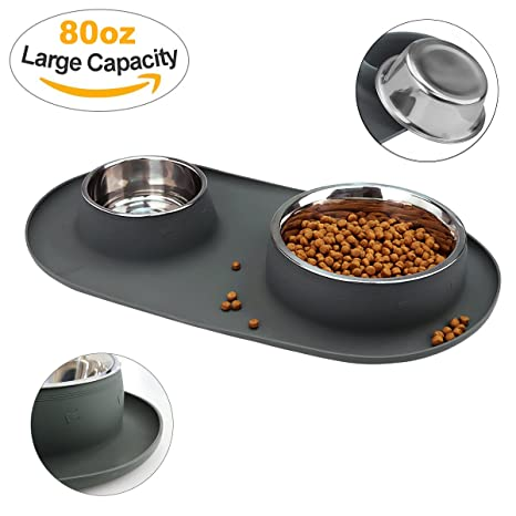 WESEN Dog Bowls 80 oz Stainless Steel Dog Food Bowl   Pet Bowl with No- f39656f08