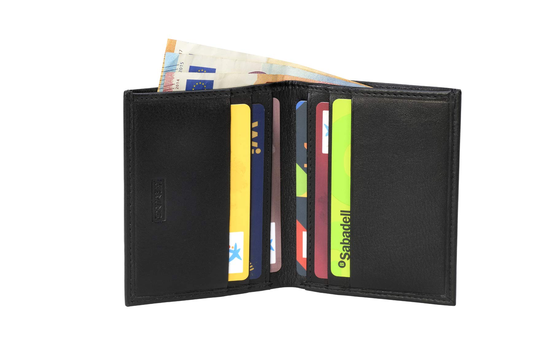 Heming / Cartera de piel minimalista para tarjetas y billetes. Billetera pequeña. Cartera tarjetero
