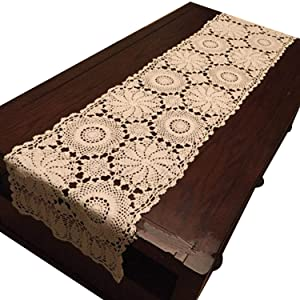 "USTIDE Rustic Floral Table Runner Hand Crochet Table Doily Beige Cotton Lace Table Decoration for Coffee Table 15""X59"""